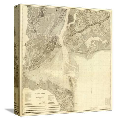 Map of New York Bay and Harbor and The Environs, c.1844--Stretched Canvas Print