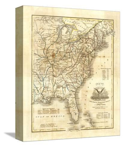 Map of The United States, c.1845-John Warner Barber-Stretched Canvas Print