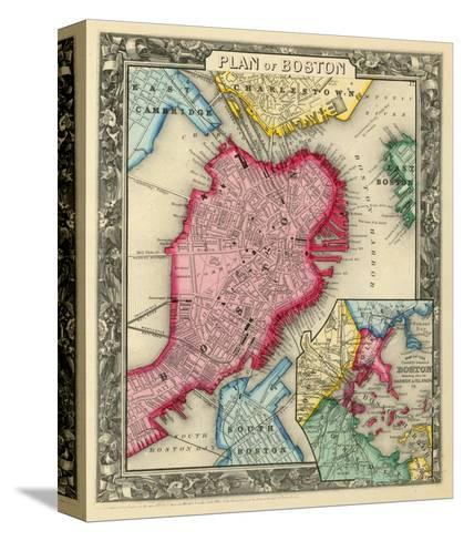Plan of Boston, c.1860-Samuel Augustus Mitchell-Stretched Canvas Print