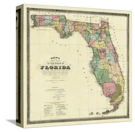 New Map of the State of Florida, c.1870-Columbus Drew-Stretched Canvas Print