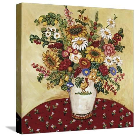 Rooster Vase Floral-Suzanne Etienne-Stretched Canvas Print
