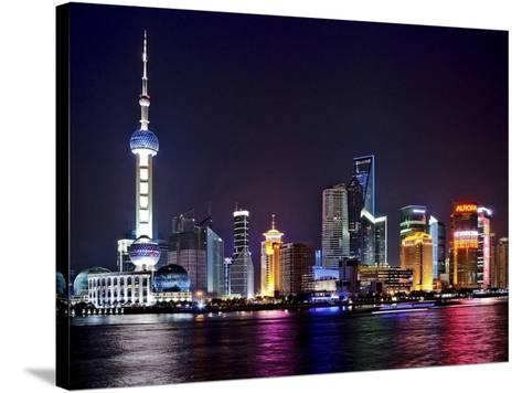 Shanghai at night-Vadim Ratsenskiy-Stretched Canvas Print