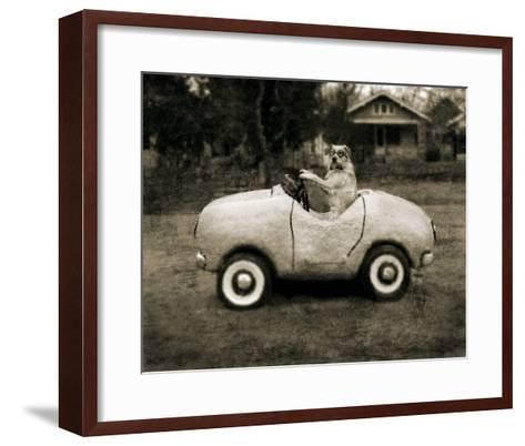 Ollie In His Car-Pete Kelly-Framed Art Print