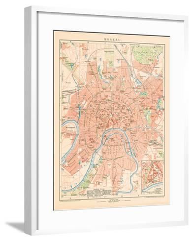 'Moskau' - A Map Of Moscow, 1892-Friedrich Arnold Brockhaus-Framed Art Print