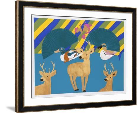 Three Deer-Hunt Slonem-Framed Art Print