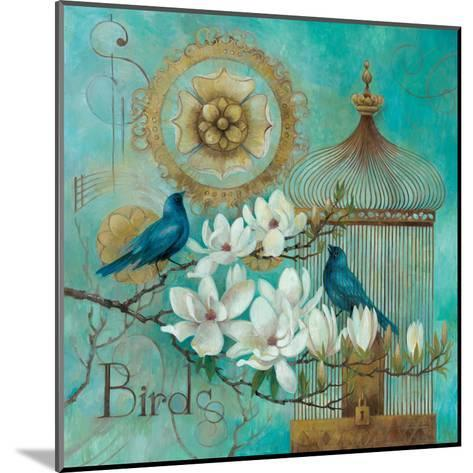 Blue Birds and Magnolia-Elaine Vollherbst-Lane-Mounted Art Print