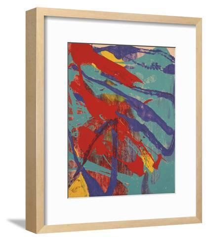 Abstract Painting, c. 1982 (Aqua, Red, Indigo, Yellow)-Andy Warhol-Framed Art Print