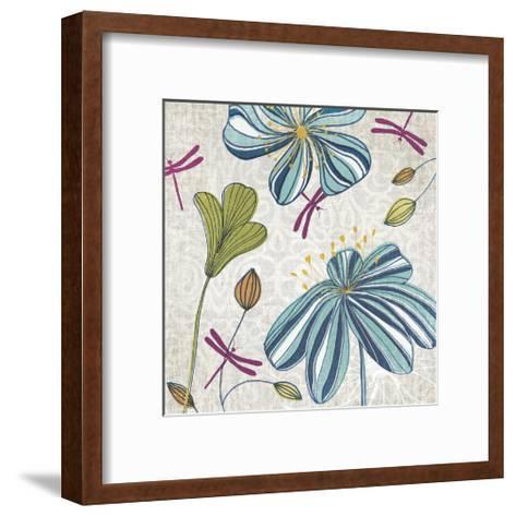 Flowers & Dragonflies-Tandi Venter-Framed Art Print