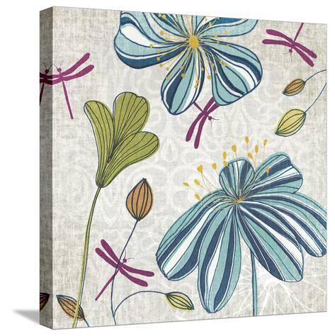 Flowers & Dragonflies-Tandi Venter-Stretched Canvas Print