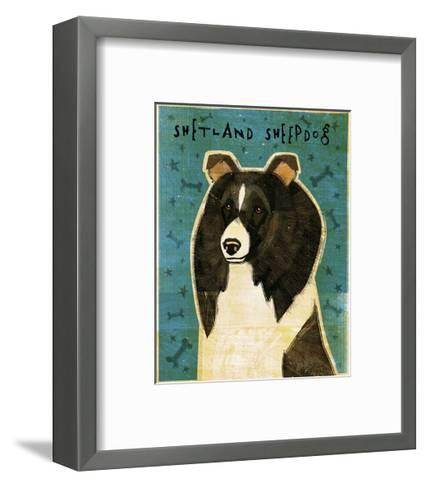 Shetland Sheepdog (Black & White)-John Golden-Framed Art Print