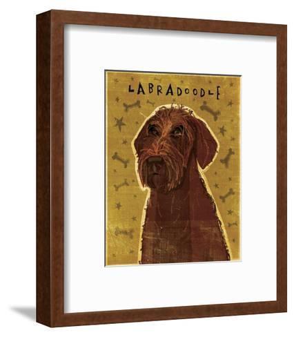 Chocolate Labradoodle-John Golden-Framed Art Print