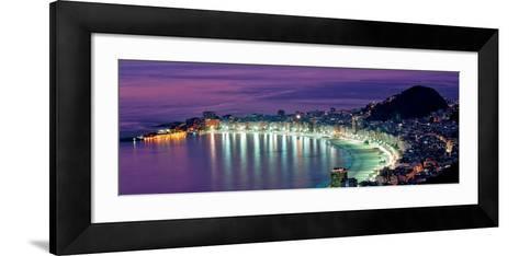Rio de Janeiro - Night View of Copacabana Beach--Framed Art Print