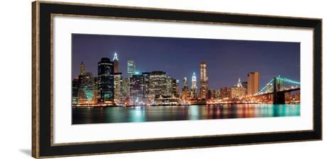 New York City - Manhattan Skyline Panorama with Brooklyn Bridge at Night--Framed Art Print