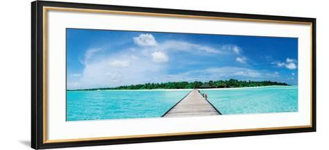 A Jetty Leading to a Beautiful Tropical Maldivian Paradise--Framed Art Print