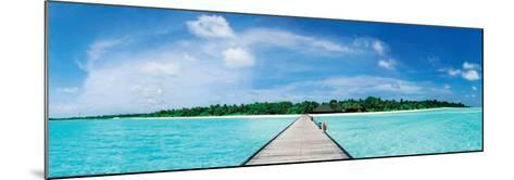 A Jetty Leading to a Beautiful Tropical Maldivian Paradise--Mounted Art Print