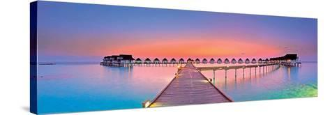 Maldives Bungalows Sunset Panorama--Stretched Canvas Print