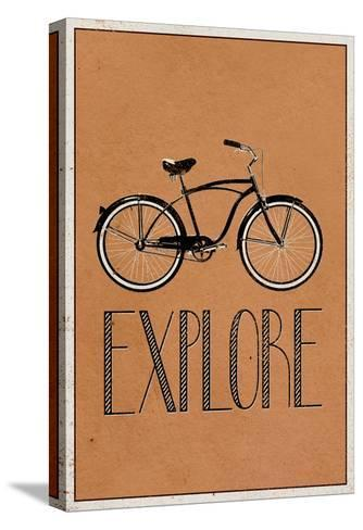 Explore Retro Bicycle Player Art Poster Print--Stretched Canvas Print
