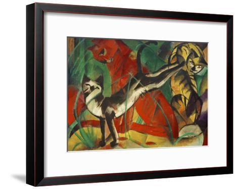 Three cats-Franz Marc-Framed Art Print
