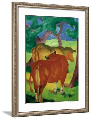Cows under trees-Franz Marc-Framed Art Print