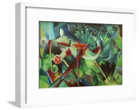 Deer in the Flower Garden-Franz Marc-Framed Art Print