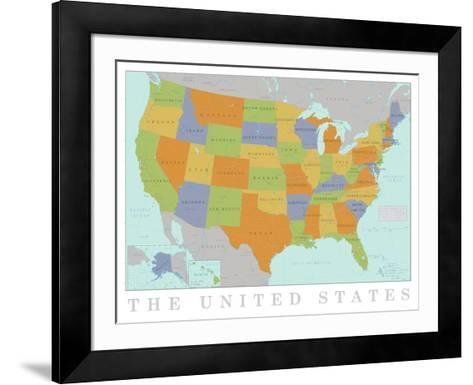 United States Map--Framed Art Print
