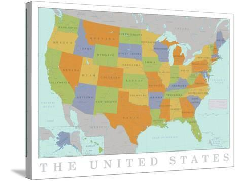 United States Map--Stretched Canvas Print