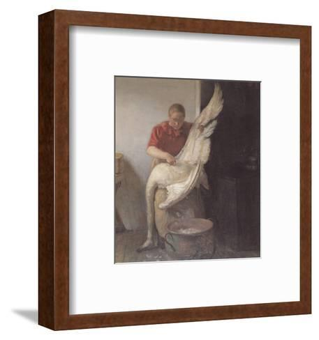 Young Girl Plucking Feathers-Anna Kirstine Ancher-Framed Art Print