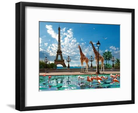 Giraffe Eiffel Bridge-Patrick Le Hec?h-Framed Art Print