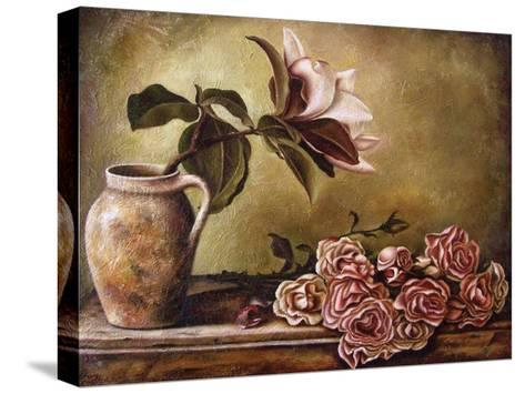 Magnolia with Roses II-Nora St. Jean-Stretched Canvas Print