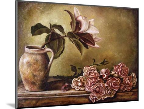 Magnolia with Roses II-Nora St. Jean-Mounted Art Print