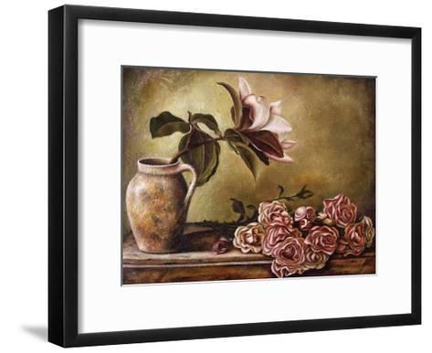 Magnolia with Roses II-Nora St. Jean-Framed Art Print