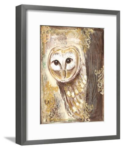 Brown, cream, and gold owls-Erin Butson-Framed Art Print