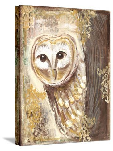 Brown, cream, and gold owls-Erin Butson-Stretched Canvas Print