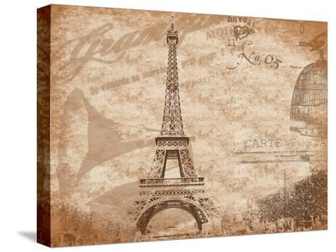 Paris-Jace Grey-Stretched Canvas Print