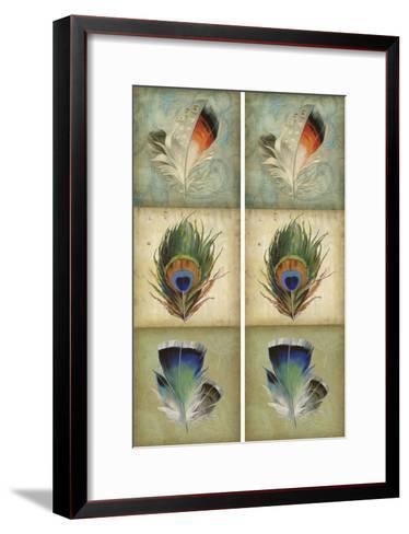 2-Up Feather Triptych I-Jennifer Goldberger-Framed Art Print
