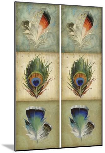 2-Up Feather Triptych I-Jennifer Goldberger-Mounted Art Print