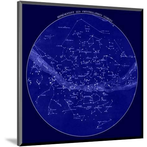 Celestial Map of Constellations visible from France, 19th C.--Mounted Art Print