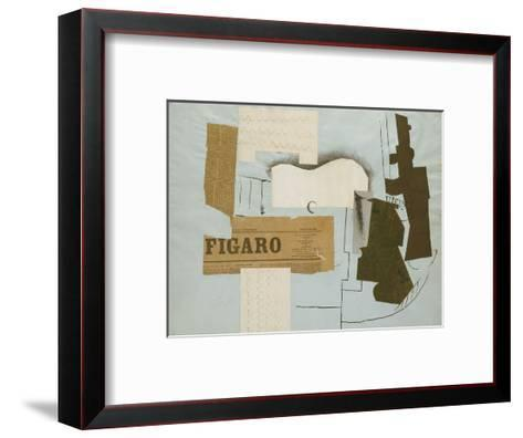 Bottle of Vieux Marc, Glass, Guitar and Newspaper, 1913-Pablo Picasso-Framed Art Print