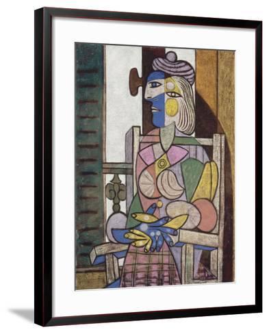 Femme assise devant la fenetre-Pablo Picasso-Framed Art Print