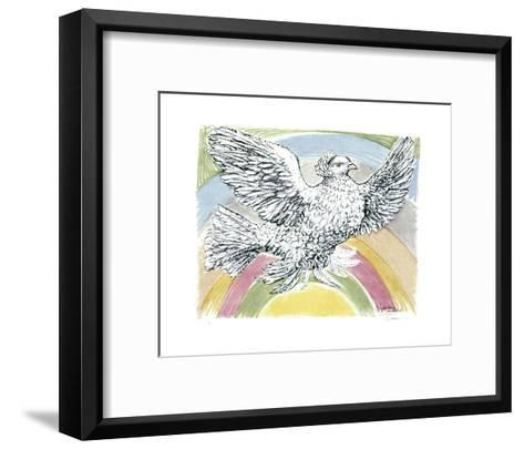 Flying Dove with Rainbow Background, 1952-Pablo Picasso-Framed Art Print