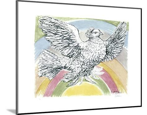 Flying Dove with Rainbow Background, 1952-Pablo Picasso-Mounted Art Print