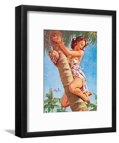 Pick of the Crop (Up a Tree) - Hawaiian Pin Up Girl-Gil Elvgren-Framed Art Print