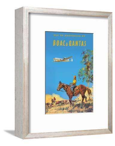 Fly to Australia by British Overseas Airways Corporation (BOAC) and Qantas Airlines-Frank Wootton-Framed Art Print