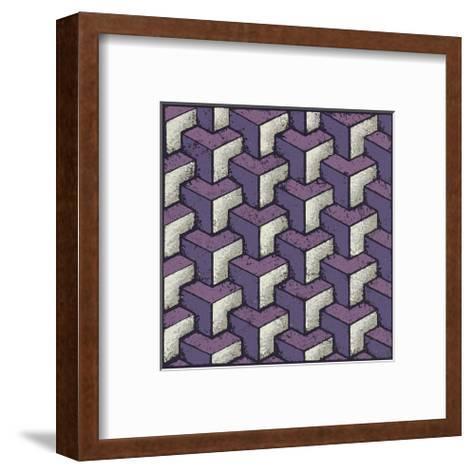 Three Part Tumbling Blocks (Purple)-Susan Clickner-Framed Art Print