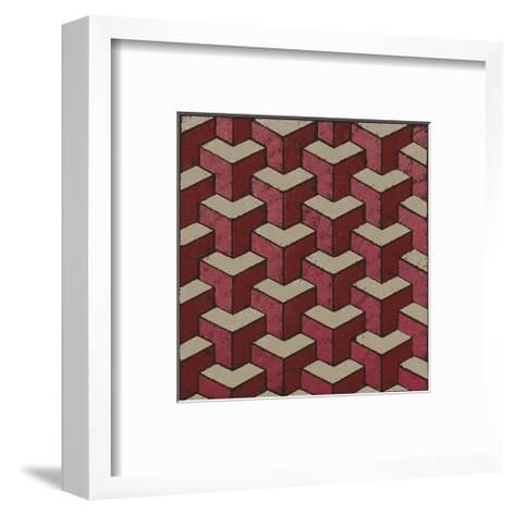3 Part Tumbling Block (Red)-Susan Clickner-Framed Art Print