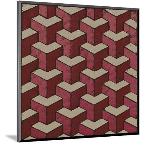 3 Part Tumbling Block (Red)-Susan Clickner-Mounted Giclee Print