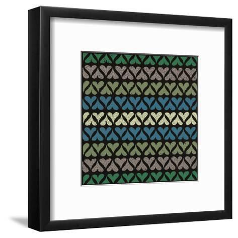 Row of Hearts (Teal)-Susan Clickner-Framed Art Print
