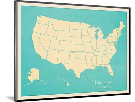 USA Map (blue)-Sparx Studio-Mounted Giclee Print