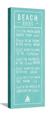 Beach Rules - Aqua-The Vintage Collection-Stretched Canvas Print