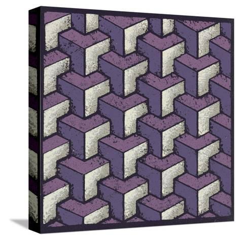 Three Part Tumbling Blocks (Purple)-Susan Clickner-Stretched Canvas Print